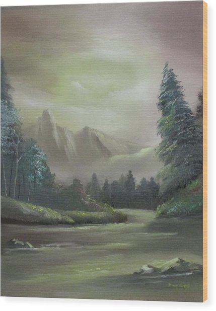 Mountain River Wood Print
