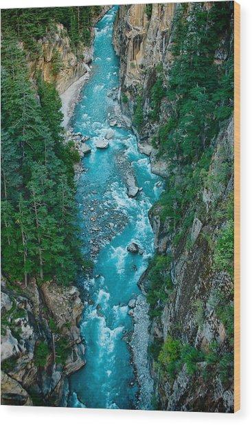 Mountain River Ganga In Valley Himalayas India Wood Print