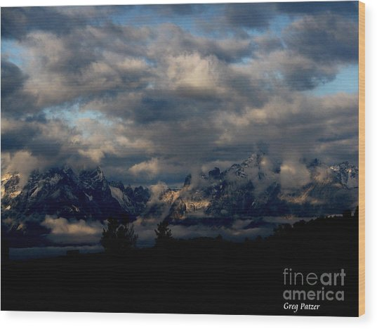 Mountain Silhouette Wood Print by Greg Patzer