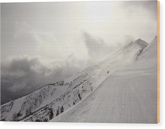 Mountain Snow Storm Approaching Ski Run Wood Print