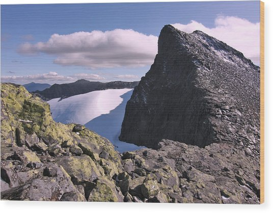 Mountain Summit Ridge Wood Print