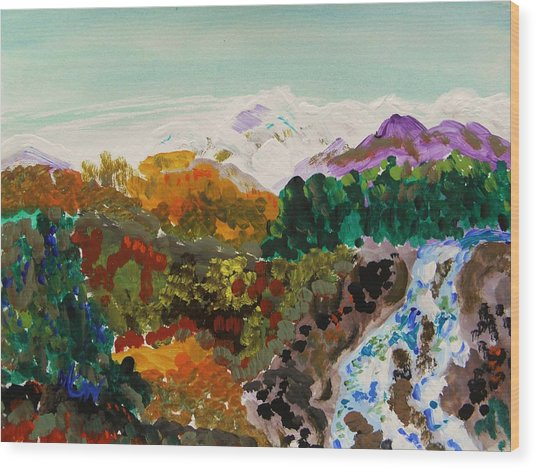 Mountain Water Wood Print