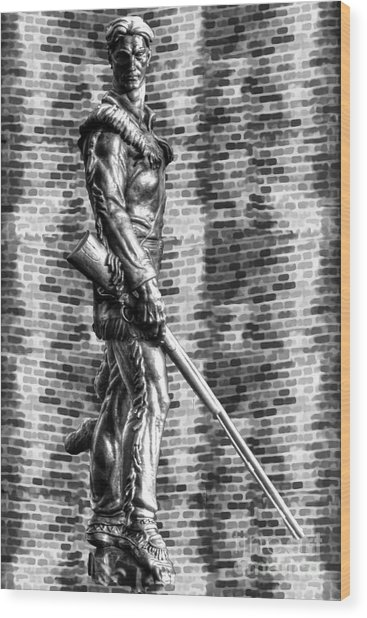 Mountaineer Statue Bw Brick Background Wood Print