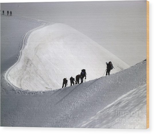 Mountaineers To Conquer Mont Blanc Wood Print