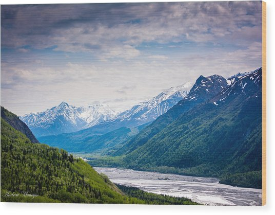Mountains Along Seward Highway Wood Print