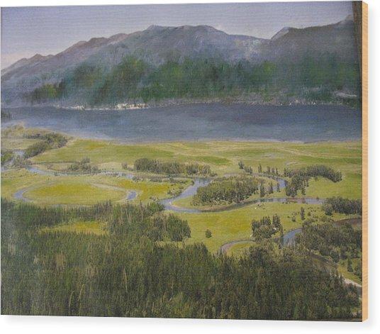 Mountains In Montana At Flathead Lake Wood Print