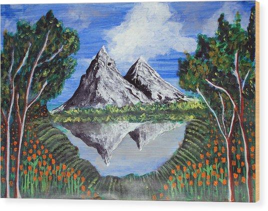Mountains On A Lake Wood Print