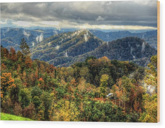 Mountains Smoking Wood Print by Heavens View Photography