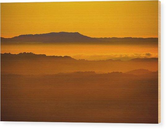 Mountaintop Sunset Wood Print