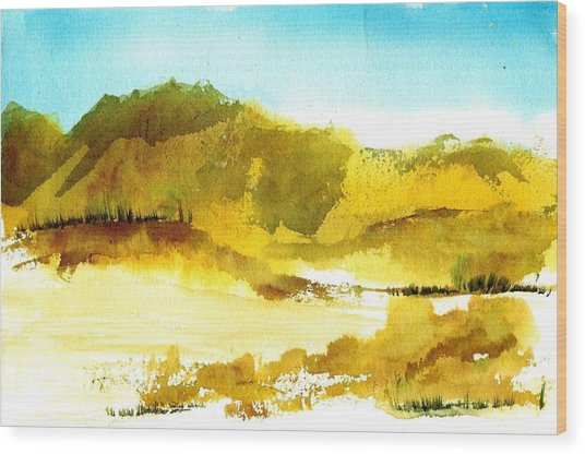 Mountan Desert Wood Print