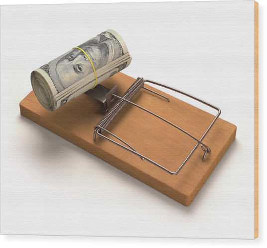 Mouse Trap With Bank Notes Wood Print by Ktsdesign