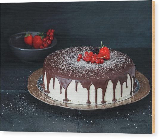 Mousse Cake With Chocolate Icing And Wood Print by Eugene Mymrin
