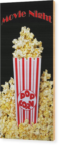 Movie Night Pop Corn Wood Print