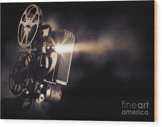 Movie Projector On A Dark Background Wood Print