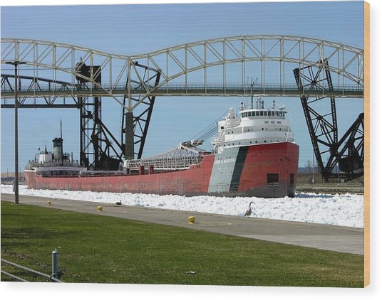 Moving Through The Ice To The Soo Locks Wood Print