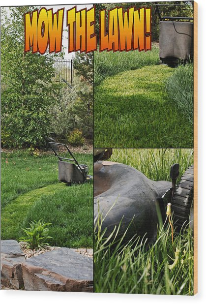 Mow The Lawn Wood Print