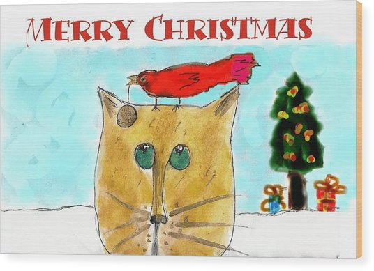 Mprints - Christmas Cheer 1 Wood Print