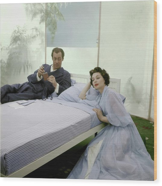 Mr. And Mrs. Rex Harrison Photographed Wood Print