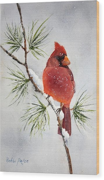 Mr Cardinal Wood Print by Bobbi Price