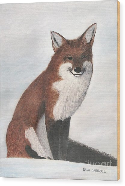 Mr Fox Wood Print by Dana Carroll