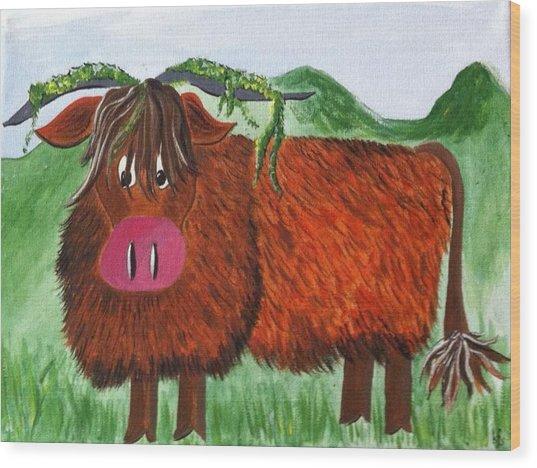 Mr Highland Cow 2 Wood Print