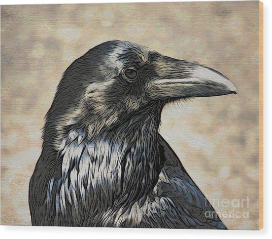 Mr. Raven Wood Print