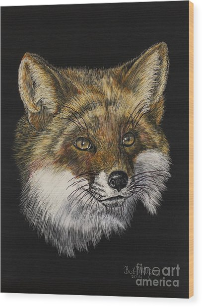 Mr. Red Fox Wood Print