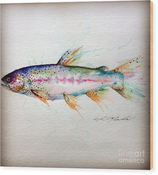 Mr Trout Wood Print