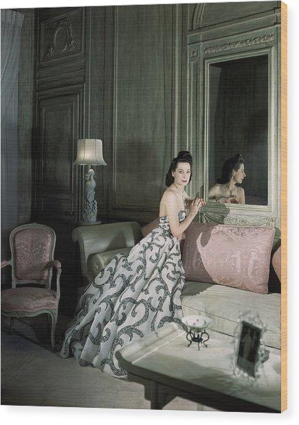 Mrs. Byron C. Foy Wearing A Dress Wood Print