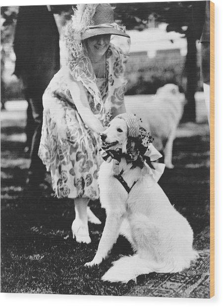 Mrs. Coolidge And Her Dog Wood Print