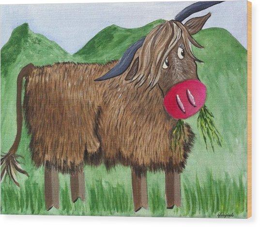 Mrs Highland Cow 2 Wood Print