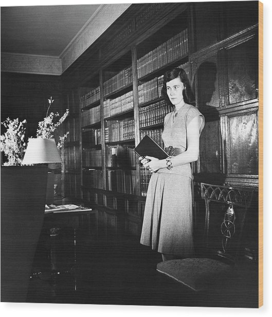 Mrs. James Polk In Her Library Wood Print