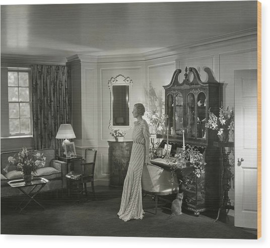 Mrs. Laurance H. Armour Standing In Her Apartment Wood Print