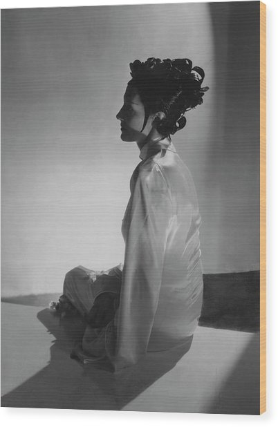 Mrs Reginald Fellowes Wearing Schiaparelli Wood Print