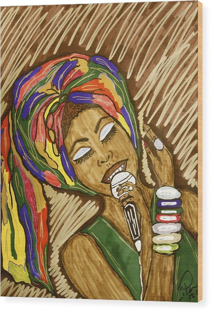 Ms. Badu Wood Print