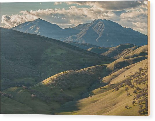 Mt Diablo And Afternoon Shadows Wood Print