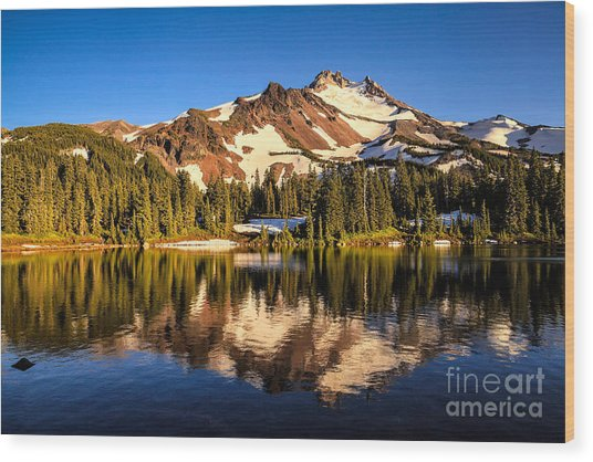 Mt. Jefferson Reflected In Alpine Lake Wood Print