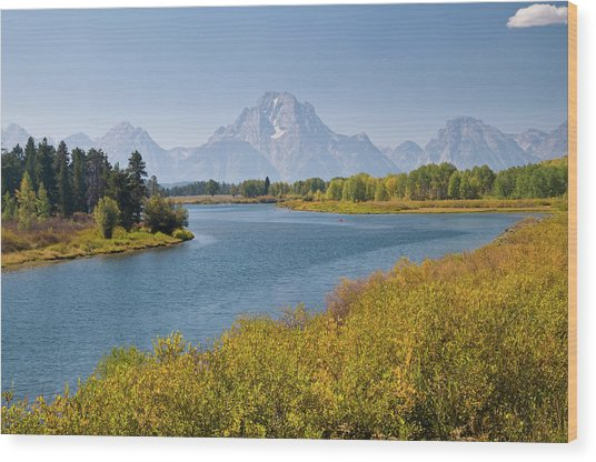 Mt Moran And Snake River Seen From Wood Print by Glenn Van Der Knijff