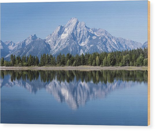 Mt. Moran At Grand Tetons With Reflection In Lake Wood Print