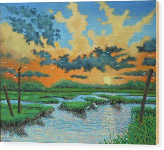Mt. Pleasant Sunset Wood Print