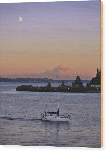 Mt. Rainier Afterglow Wood Print