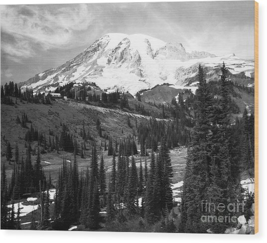 Mt. Rainier And Paradise Lodge 1950 Wood Print