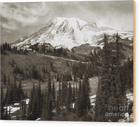 Mt. Rainier And Paradise Lodge In Sepia 1950 Wood Print
