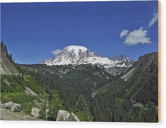 Mt Rainier Between The Valley Wood Print