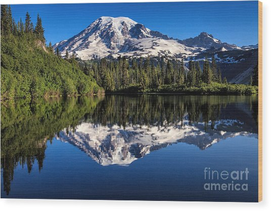 Mt. Rainier From Bench Lake Wood Print