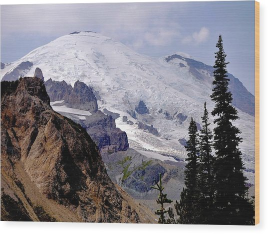 Mt Rainier From Panhandle Gap Wood Print