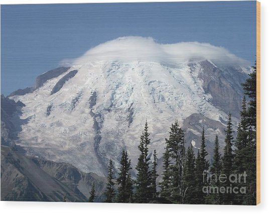 Mt. Rainier In August 2 Wood Print