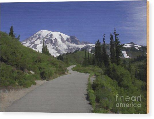 Mt Rainier Painted Wood Print