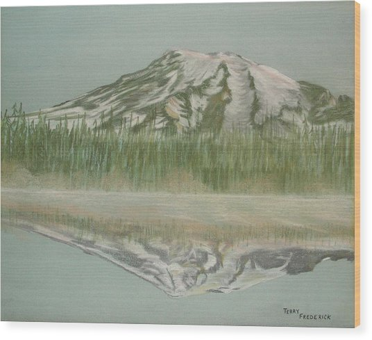 Mt Rainier Wood Print