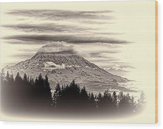 Mt. Rainier Wa In Black And White Wood Print